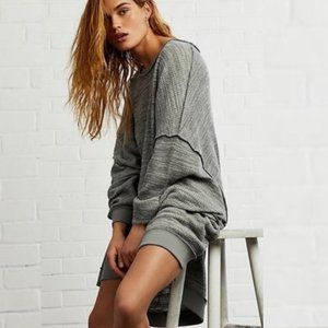 Free People Grey Long Sleeve Knit Pullover Top XS